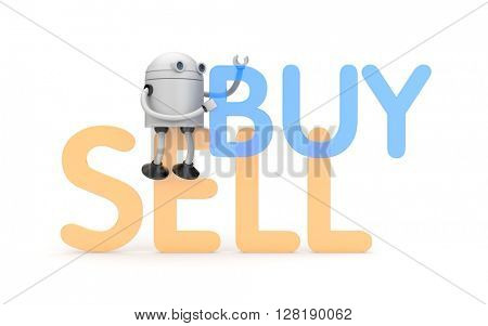 Robot with buy and sell words. 3D illustration