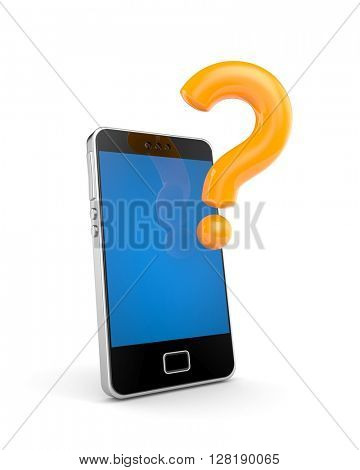 Mobile phone with question. 3d illustration