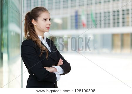 Portrait of a young business woman in a modern environment