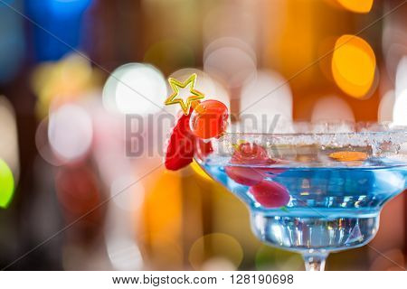 Fresh Cocktail with on bar desk, close-up.
