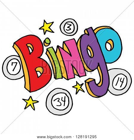 An image of a bingo message with numbers and stars.