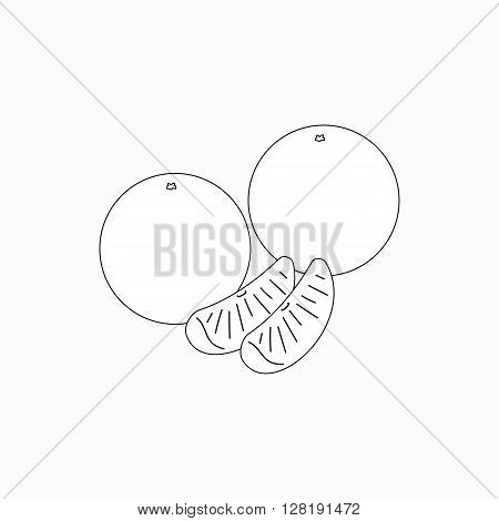 Two tangerine with two purified slices icon in isometric 3d style isolated on white background