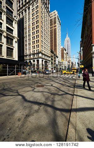 NEW YORK CITY - MARCH 27: Manhattan street,  March 27 2014 in New York, USA