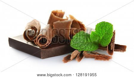 Chocolate with mint  on white background