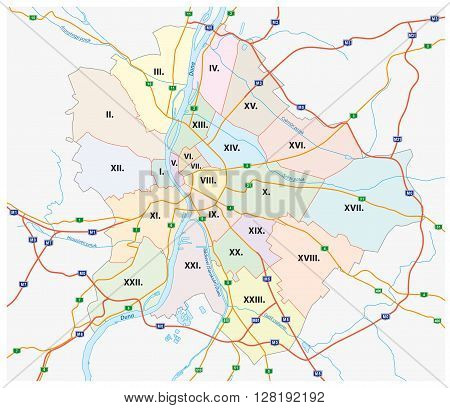 budapest, administrative and road map of the Hungarian capital