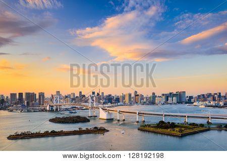 Tokyo, Japan skyline of Tokyo Bay.