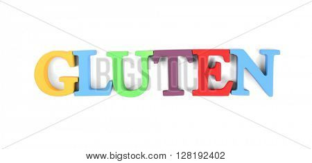 Word GLUTEN made of colorful letters isolated on white