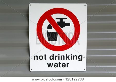 Not drinking water warning sign
