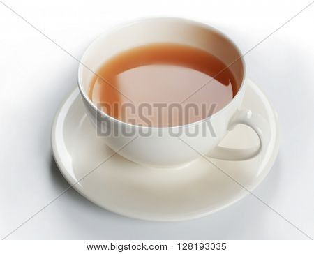 Tea with milk on white background.