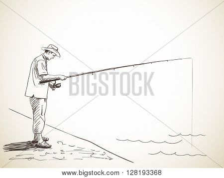 Sketch of man fishing, Hand drawn illustration