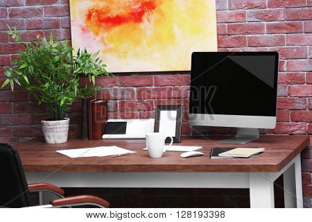 Stylish workplace in office