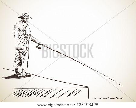 Sketch of man fishing, Hand drawn illustration