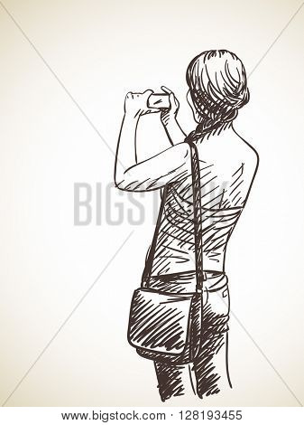 Woman taking photo with smart phone, Hand drawn illustration, Vector sketch