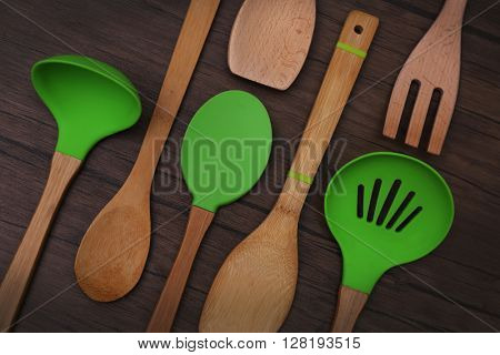 Set of wooden utensils on a table