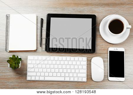 Flat lay of workplace in office with business accessories