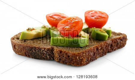 Avocado sandwich with tomatoes isolated on white