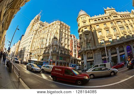 MADRID, SPAIN - NOVEMBER 11, 2015 : View Gran Via, one of the main streets and most famous landmarks of the Madrid city