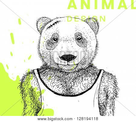 Hand Drawn Bear. Muscular Athlete. Vector Graphic Illustration.