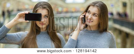 Collage. Two Young brunette women covers her face screen smart phone, indoor