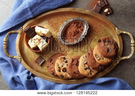 Chocolate chip cookies on a metal tray