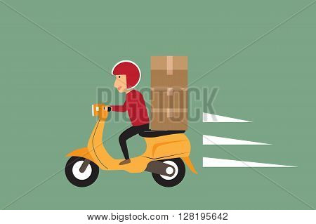 Delivery concept. man ride scooter motorcycle service order shipping fast and free transport. vector illustration.