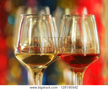 Two glasses of red and white wine, close up