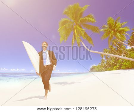 Businessman with urfboard Beach Concept