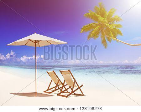 Deck Chairs Tropical Beach Concept