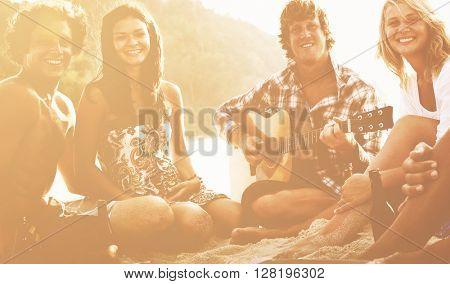 Group Friends Having Beach Party Concept