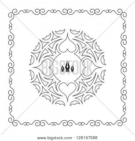 Ornament Decoration. Elegant Element for Design, Place for Text. Retro Style for Invitations, Banners, Posters, Placards and Badges. Vector Illustration.
