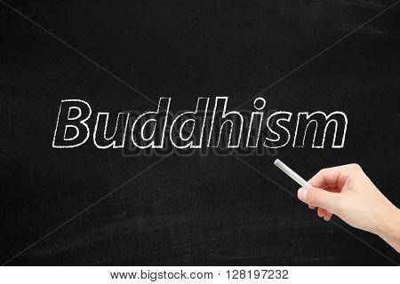 Buddhism written on a blackboard