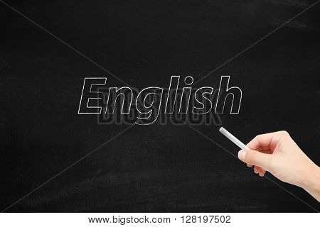 The language of English written on a blackboard
