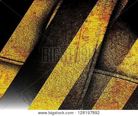 Black and yellow hazard lines
