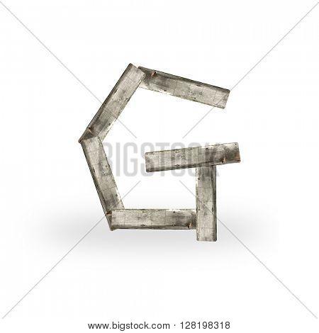 Wooden letter G on white