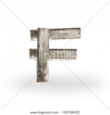 Wooden letter F on white