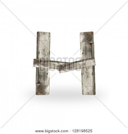 Wooden letter H on white