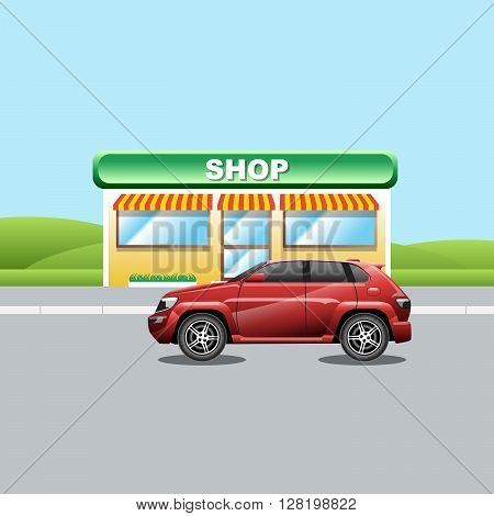 Red crossover on the road near a shop. A vehicle parked near a mini market. Suburban landscape view. Digital vector illustration.