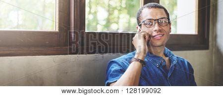 Man Coffee Shop Talking Telephone Concept
