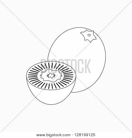 Whole kiwi and half of kiwi icon in isometric 3d style isolated on white background