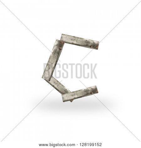 Wooden letter C on white