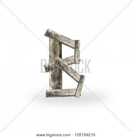 Wooden letter B on white