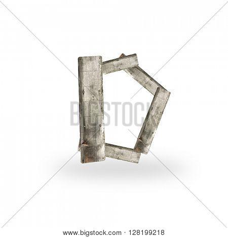 Wooden letter D on white