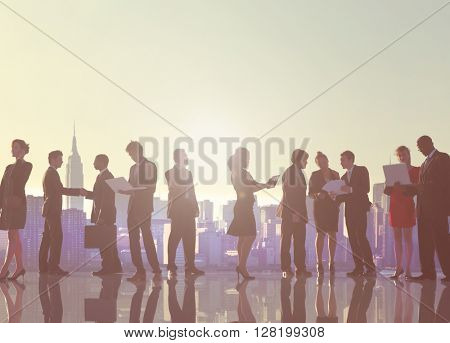 Business People New York Outdoor Meeting Silhouette Concept