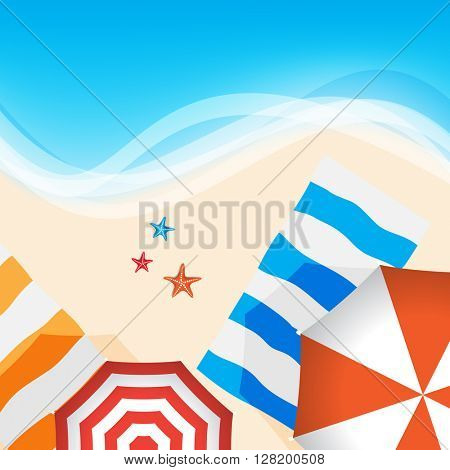 outdoor beach sea side hot summer vacation, starfish and umbrella elements flat layout cartoon digital drawings background design. eps10 vector