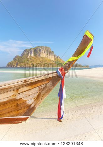 Long tailed boat from a tropical island in Thailand.