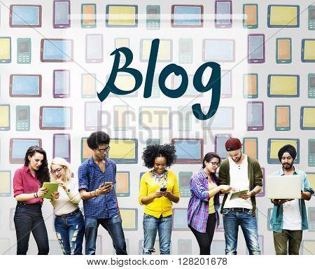 Blog Blogging Connecting Content Information Concept