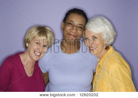 Portrait of Caucasian and African American mature adult females.