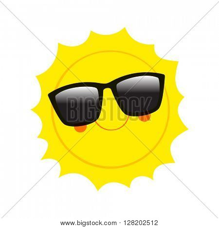 Character Sun in sunglasses and happy smile. Vector Illustration