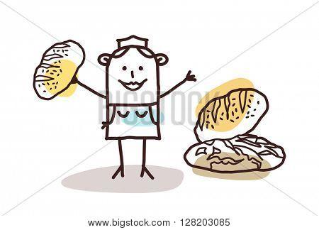cartoon food retailer - baker and bread