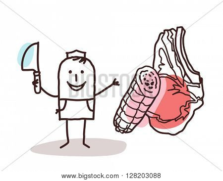 cartoon food retailer - butcher and meat